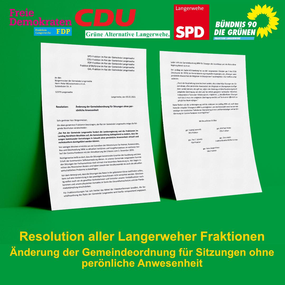 Resolution aller Langerweher Fraktionen
